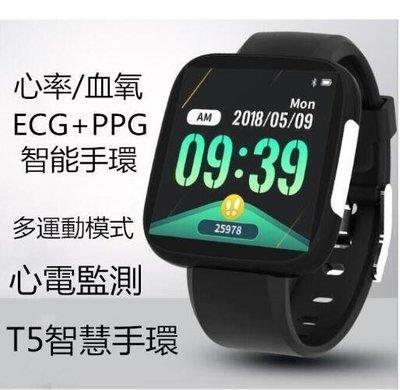 ECG+PPG心電T5智慧腕錶 繁體中文 line fb 心電心率 血壓 睡眠 計步 信息 來電提醒 運動手環 藍牙手環