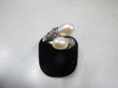 二手舖 NO.3966 天然珍珠 鑲鑽造型戒指 首飾飾品 全新