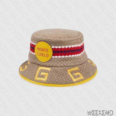 【WEEKEND】 GUCCI Monte Carlo 異材質拼接 編織 皮革滾邊 漁夫帽 629599 黃色 男女同款