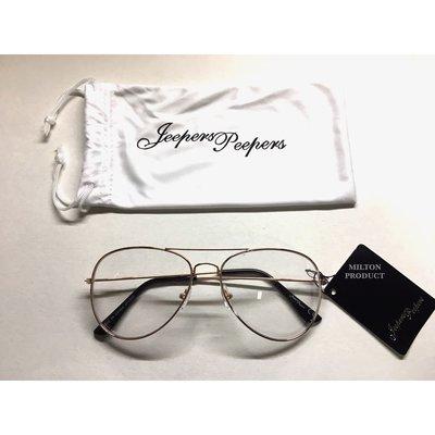 Jeepers Peepers 英國品牌 透明鏡框眼鏡 玫瑰金色金屬 基本款 抗uv400 鏡片 英國帶回  G080