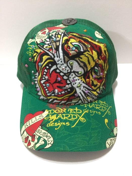 Ed Hardy  老虎頭 大顆 爪抓 彩色水鑽  保證不掉鑽 老帽 卡車帽 緑色 現貨