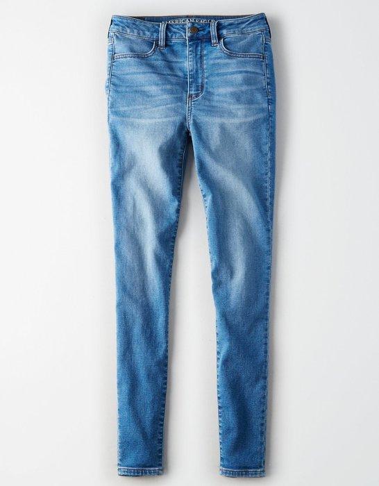Maple麋鹿小舖 American Eagle * AE 藍色舒適合身長褲JEGGING * ( 現貨4S號 )