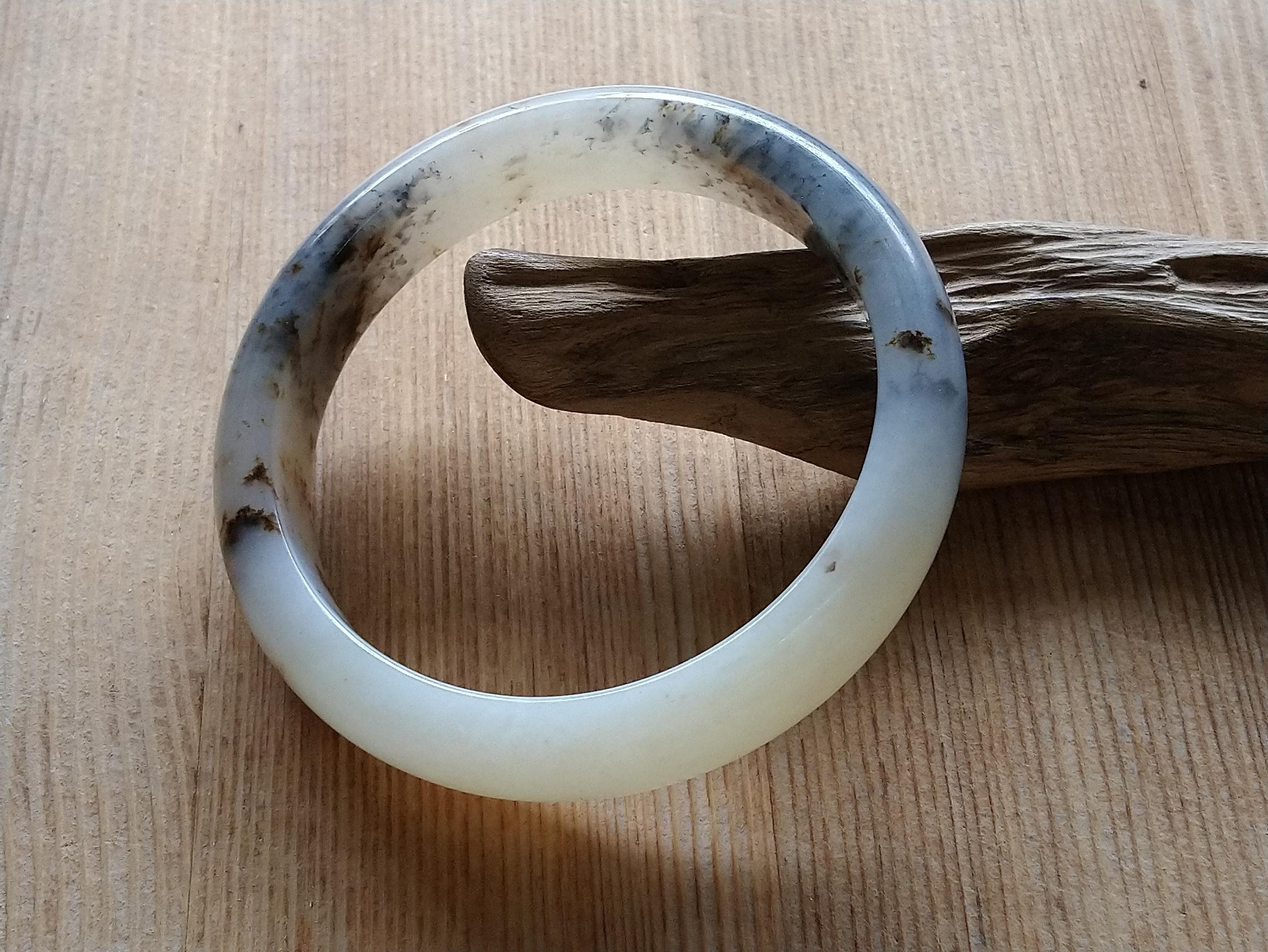 簡單Simple。現貨。10389號天然新疆和闐玉/和田玉青花籽料桂花糕手鐲子手鐲鐲子手環。內徑57MM