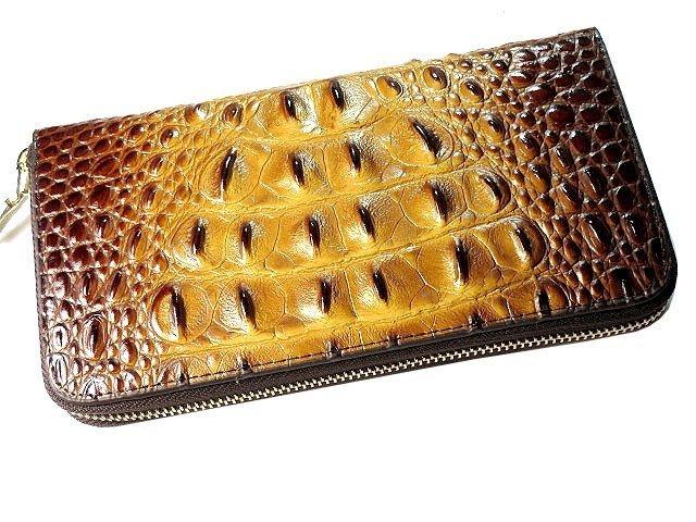 【 金王記拍寶網 】742 自家品牌 正牛皮製 鱷魚皮紋拉鍊式長夾 皮夾 女用 男用 中性 手工 皮夾 市面罕見稀少