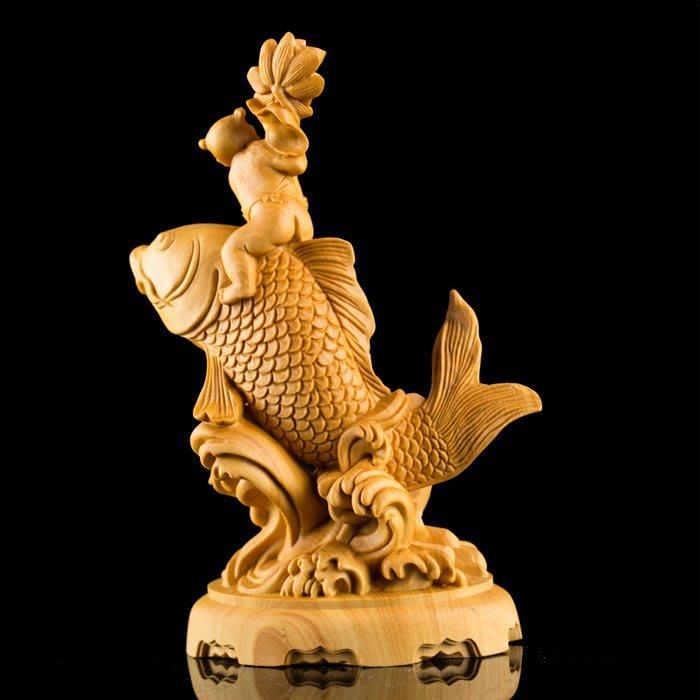 5Cgo【茗道】563739439527 黃楊木雕刻工藝品鯉躍龍門中國風中式禮品家居裝飾實木把玩件年年有余古典茶玩福娃