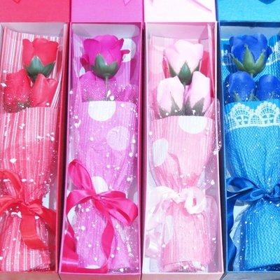 3朵玫瑰花束 香皂花禮盒 生日 情人節 求婚禮物-艾發現