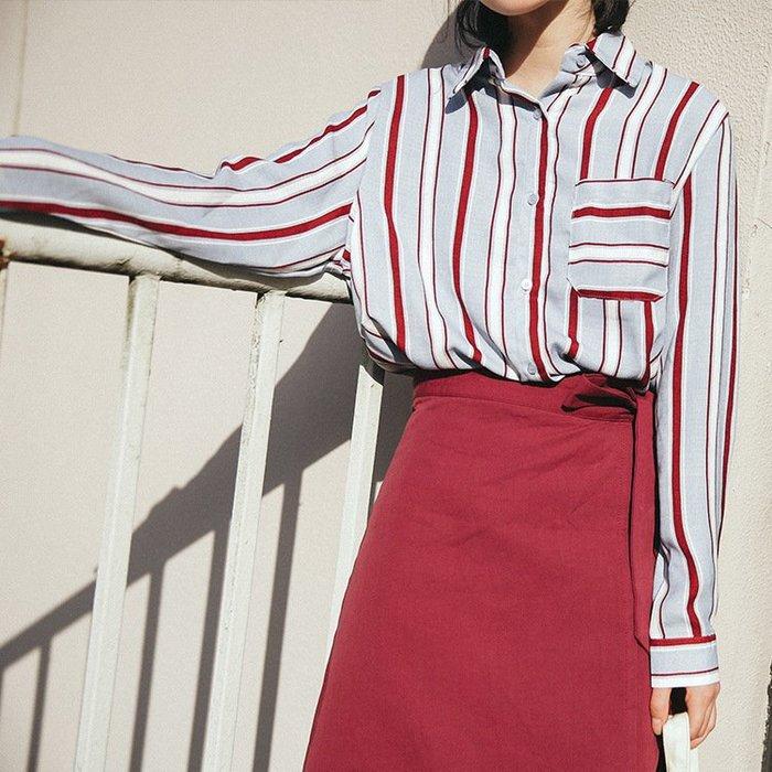 SeyeS  street雜誌英倫自然風古著配色直條紋襯衫