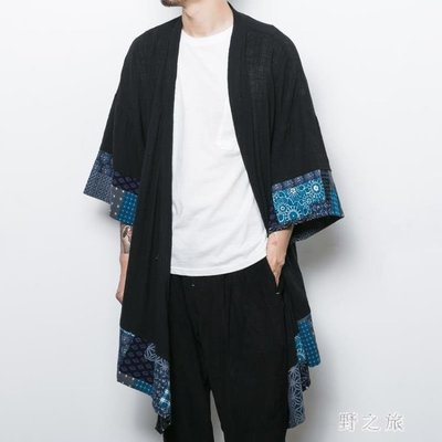 中大尺碼風衣男 中國風男裝薄長版風衣外套秋季復古中式唐裝棉麻古風披風 KB9208