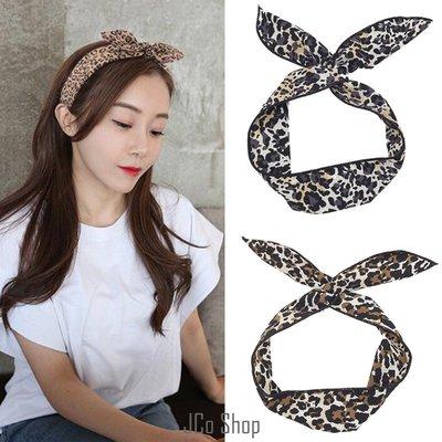 韓風 簡約 復古 豹紋 蝴蝶結 髮帶 兔耳朵 頭帶 髮飾