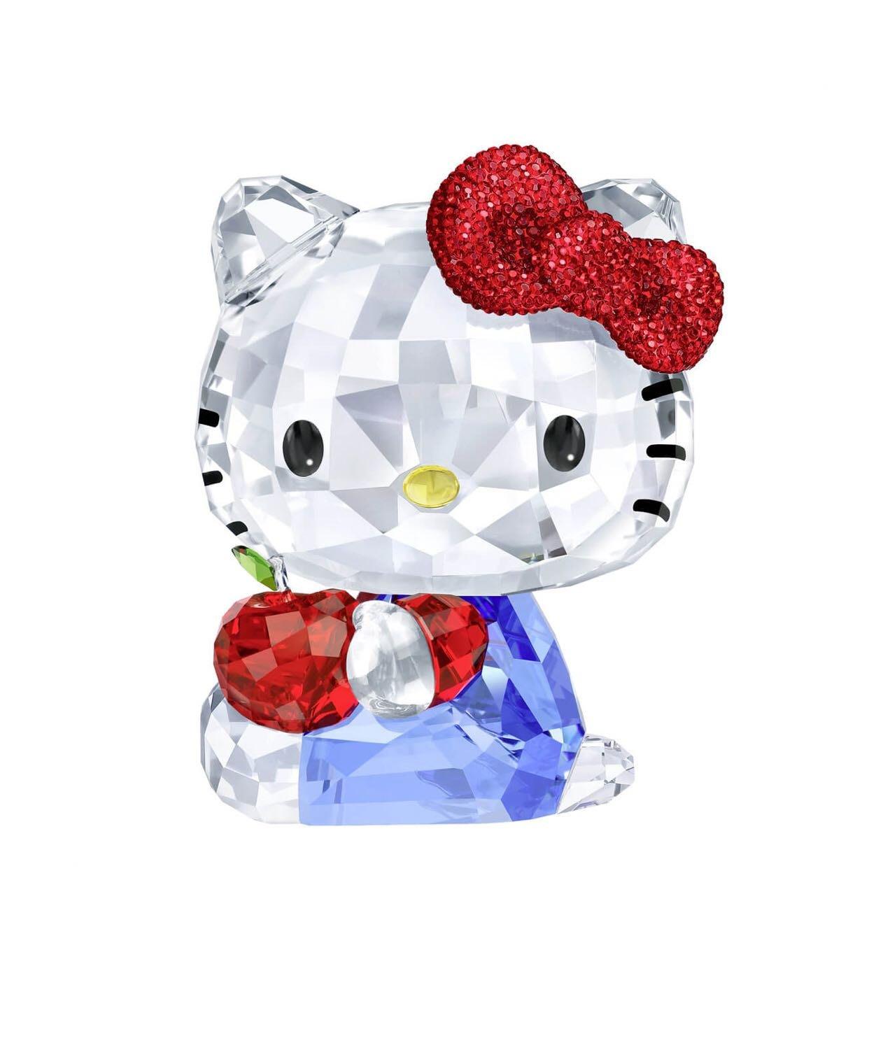 甯@全新專櫃正品 SWAROVSKI 施華洛世奇 水晶塑像~ Hello Kitty 與紅蘋果