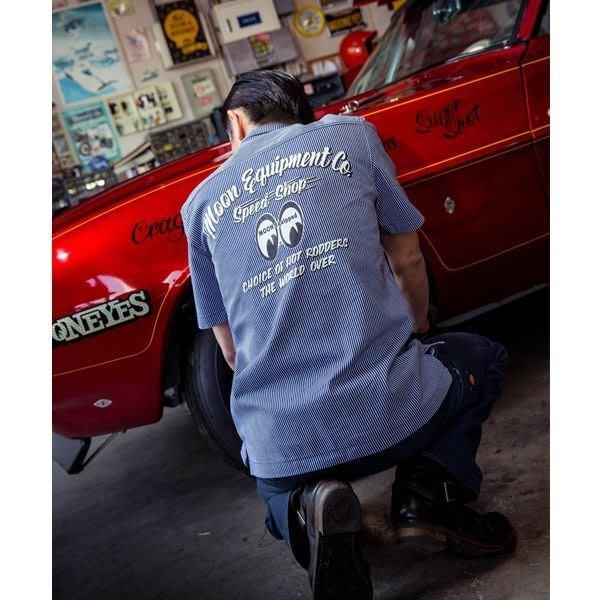 (I LOVE樂多) MOONEYES Choice of Hot Rodders 工作襯衫 背部印刷 直條紋短袖襯衫