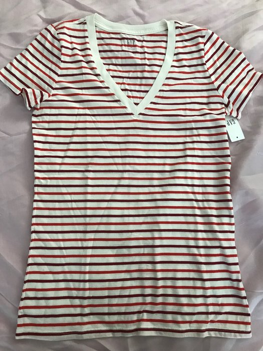 【天普小棧】GAP Vintage Wash Stripe V-neck T-shirt V領短袖條紋T恤純棉T XS號