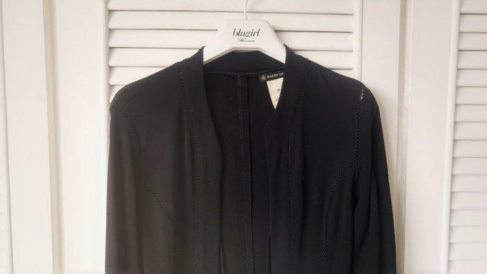專櫃正品意大利【PLEIN SUD】黑色細鏤空開襟外套