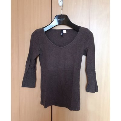H M beautiful chocolate brown silm fit blouse top shop zara mango外國咖啡色簡約v領修身中袖襯衫