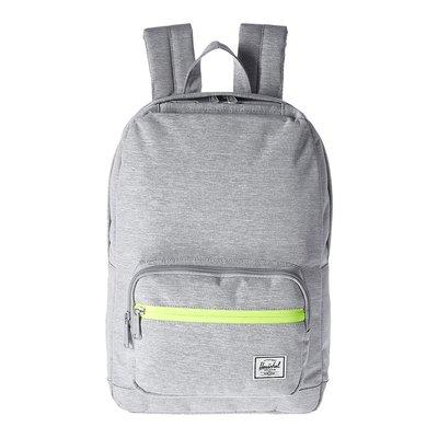 Herschel Pop Quiz 中型 灰色 螢光綠 防水拉鍊 帆布 筆電 多夾層 女生 書包 後背包 [現貨]