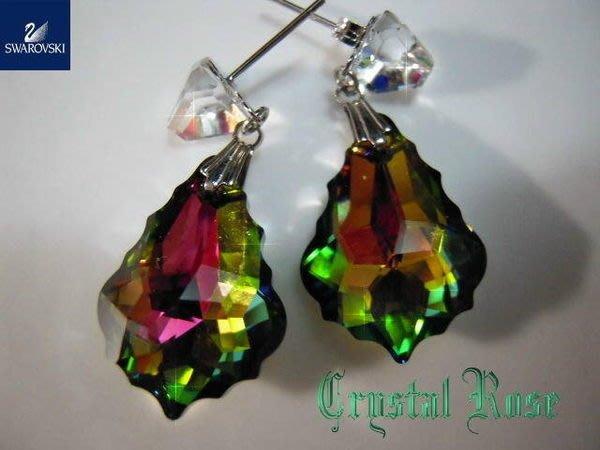 ※水晶玫瑰※ SWAROVSKI 大巴洛克水晶 水晶耳針式耳環(DD200)