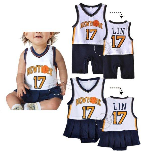 媽咪家【AC024】AC24啦啦隊哈衣 籃球風 17號 林來瘋 林書豪 運動員 背心 平角衣 裙哈~70.80.90