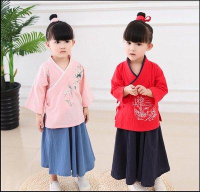 ~~Miss Goddess~~中國風女童漢服兒童國學館學堂服裝幼兒日常棉麻套裝書童演出服裝