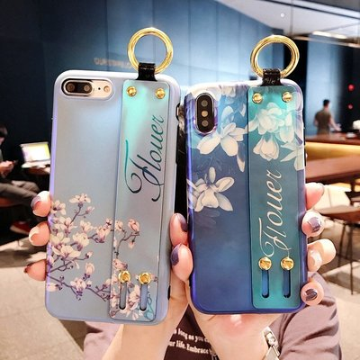 iphone 12 pro Max Mini  手機殼 閃粉玉蘭花 梔子花 腕帶支架功能 軟殼全包 防摔抗震 保護套