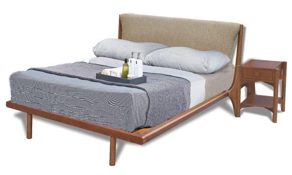 【DH】商品貨號N577-5商品名稱《庫斯》6尺淺胡桃造型雙人床架(圖一)不含床頭櫃/備有五尺另計。主要地區免運費