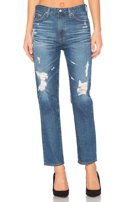 ◎美國代買◎AG Phoebe 刷破藍高腰設計復古甜心高腰刷破小直筒九分牛仔褲~孔孝真歐妮風格