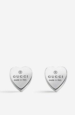 GUCCI Trademark earrings heart-motif sterling silver stud ea