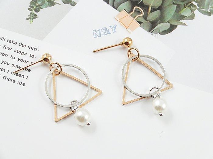 韓系小三角幾何氣質珍珠撞色耳環耳釘耳夾EB96☆【N&Y】