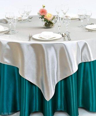 居家家飾設計  方檯布180*180cm-緞面布-一條起訂-適用70cm/90cm/120cm方桌- 雙針車邊
