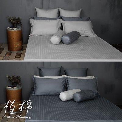 《50支紗》雙人床包/枕套/3件式【共2色】植棉-淺灰、深灰 100%精梳棉-麗塔寢飾-