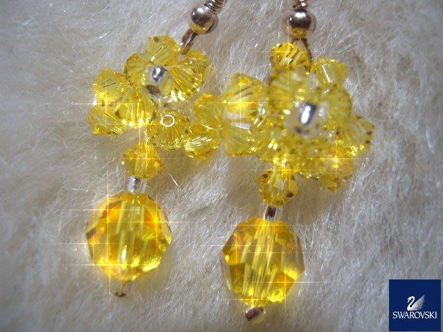 ※水晶玫瑰※ SWAROVSKI 地球珠水晶 耳勾式耳環(DD438)