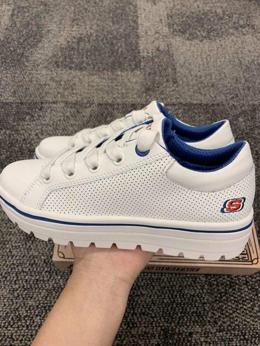 安安精品保證正品SKECHERS 經典logo厚底小白鞋 74104 WHT