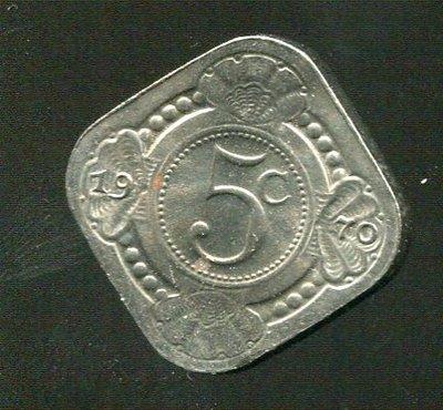 【錢幣】荷屬安地列斯 Ntherland Antilles 5 cents 1970 K6 ,品相全新UNC