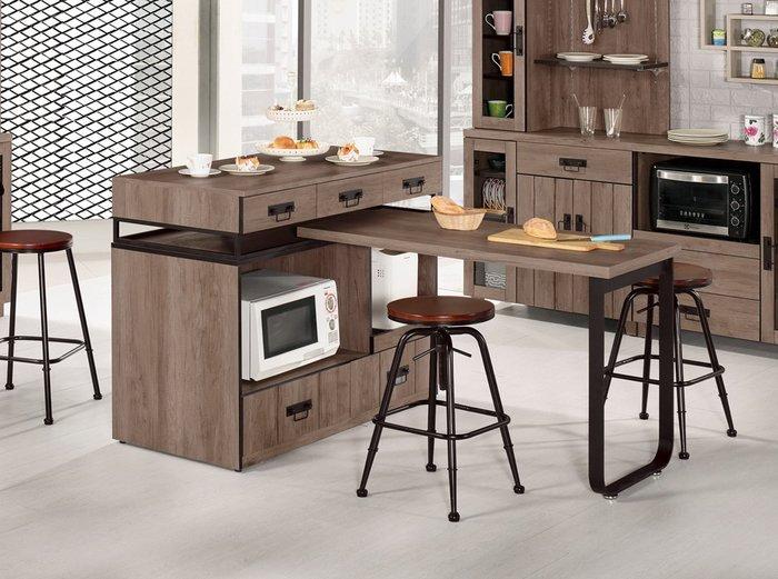 【NKD傢俱裝潢館 】哈珀4尺中島型多功能餐桌櫃組(不含椅) 促銷價 $15700元 CM 901 $