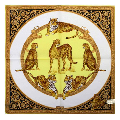 【姊只賣真貨】VERSACE 凡賽斯 古典藝術華麗猛獸領帕巾(黃色)
