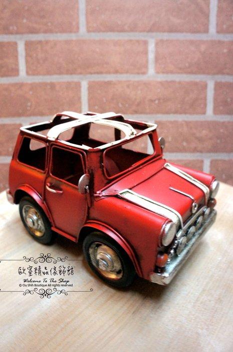 ~*歐室精品傢飾館*~ 復古Loft工業風~ 手工 鐵製 福斯MINI(紅)筆筒 模型 收藏 擺飾~新款上市~