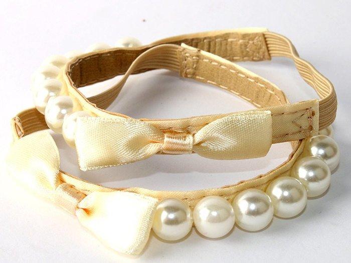 高跟鞋 低跟鞋  商務休閒 珍珠款鬆緊束帶 讓鞋子不易鬆脫 米底 米珍珠 帶蝴蝶結  F