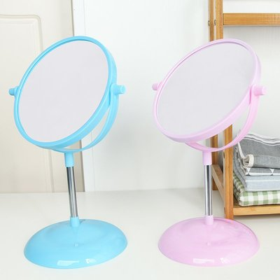 學生宿舍鏡子臺式雙面美容化妝鏡桌面便攜手柄鏡小號圓形公主鏡子