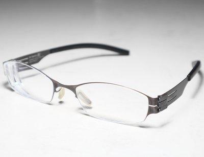 二手原廠正品 ic! berlin Model Kanna 咖啡色 德國製中性款時尚輕薄無螺絲設計金屬框眼鏡框鏡架