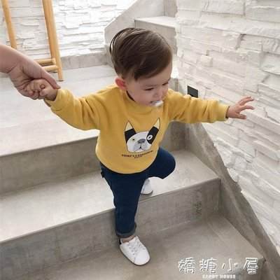 辰辰媽男嬰童寶寶衛衣加絨女童小狗卡通打底衫嬰兒加厚上衣秋冬季