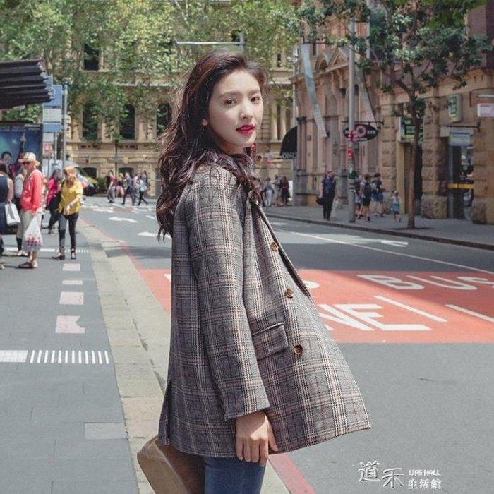 格子小西裝外套女韓國新款春秋裝英倫風韓版復古格紋西服 【凹凸曼】