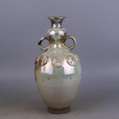 【三顧茅廬 】唐代銀光窯金銀釉堆花雙耳蒜頭瓶 出土文物古瓷器手工瓷古玩收藏