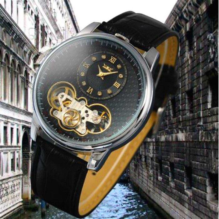 JARAGAR 正品 復古簡約羅馬數字帶鑽刻度大錶面 鏤空機械齒輪視窗 真皮錶帶 全自動機械錶【S & C】