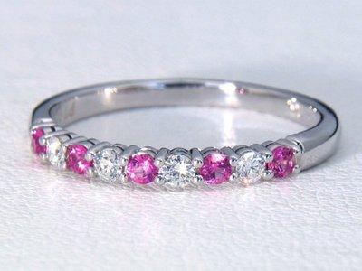 Tiffany PT950 爪鑲白金粉紅寶+鑽石線戒,專櫃價14萬元