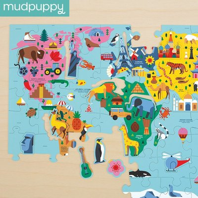 孖屬店鋪 新款mudpuppy泥巴狗世界地圖拼圖兒童78片益智男孩女孩玩具5-6-7-8歲