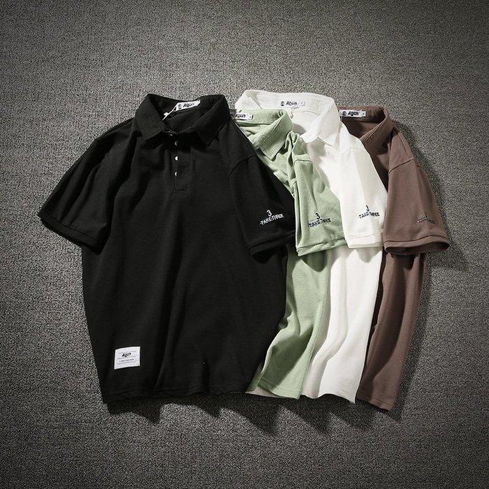 日系復古小清新簡單刺繡純色polo衫 男女情侶潮流正韓翻領短袖
