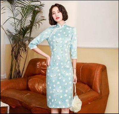 ~~Miss Goddess~~  老上海旗袍新款復古氣質優雅中袖年輕少女改良連衣裙中長款