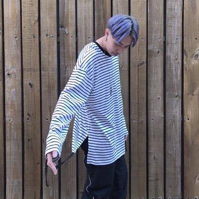 【inSAne】Korea Select /  條紋造型穿搭款 / 線條 抽繩 黑& 白
