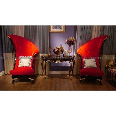 [紅蘋果傢俱] MDS-001 形象椅 新古典 造型 絨布 休閒椅 現代 歐式 法式椅