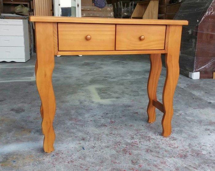 美生活館-- 鄉村全原木家具-- 全新 量身訂製 雙抽書桌 寫字桌 工作桌玄關桌柚木色 可依尺寸顏色再報價 店面民宿居家