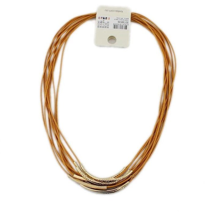 外銷歐美首飾💃新款韓國潮流桔色麻繩項鍊韓版時尚多層串金屬管十層鏈特價飾品